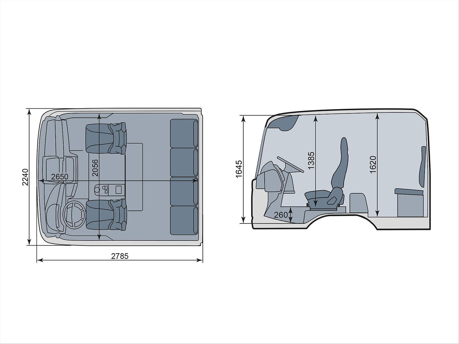 Кабина MAN с двумя рядами сидений (схема)